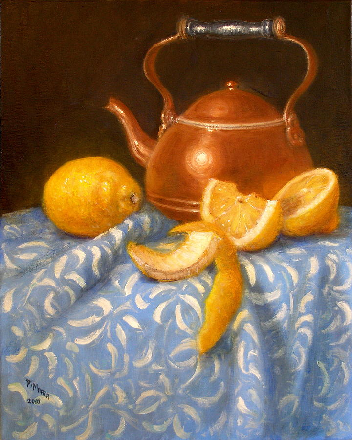 Realism Painting - Lemons With Copper Teapot by Donelli  DiMaria