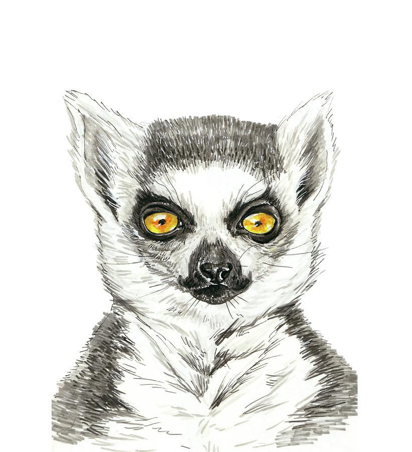 Animal Painting - Lemur by Katerina Kirilova