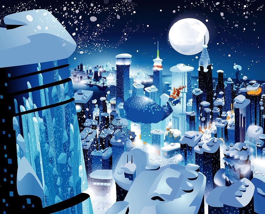 Santa Claus Digital Art - Leni The Pug Over New York City by Alexandru Sacui