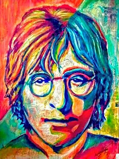 Portrait Mixed Media - Lennon  by Amy Lindemann