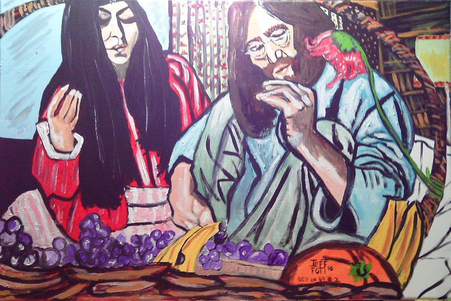 Lennon And Ono Bed In  Two Painting by Jeffrey Foti