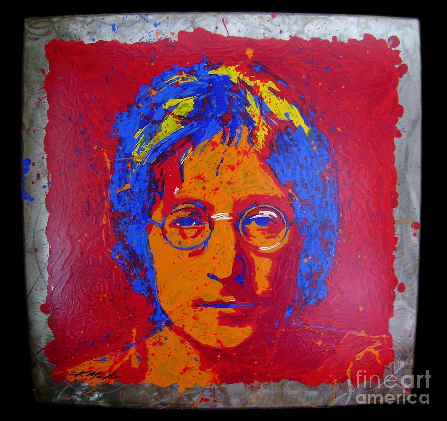 John Lennon Painting - Lennon On Steel by Chris Mackie