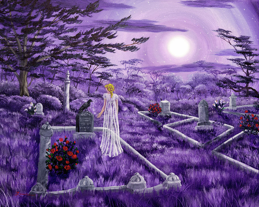 Moon Painting - Lenore In Lavender Moonlight by Laura Iverson