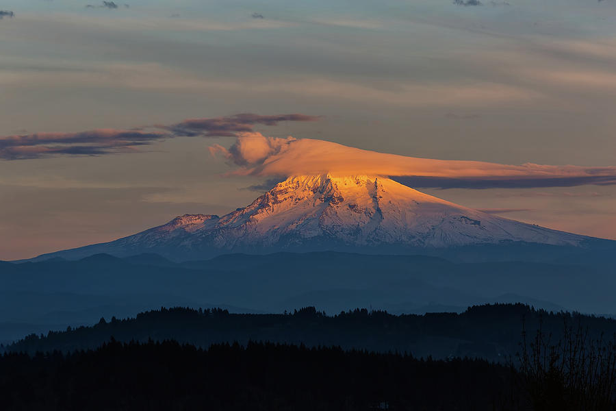 Mt Hood Photograph - Lenticular Clouds Over Mount Hood by David Gn