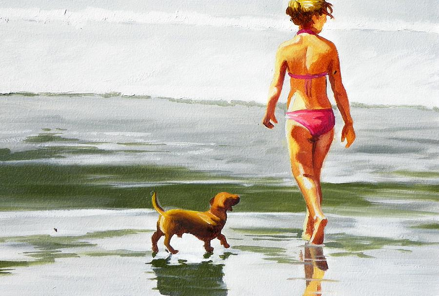 Beach Painting - Leo And Kara On The Shore by Rhondda Saunders