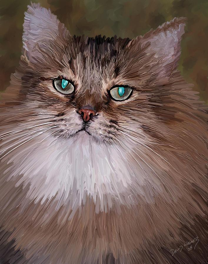 Cat Painting - Leo by David Wagner
