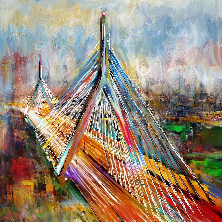 Corporate Art Task Force Painting - Leonard P. Zakim Bunker Hill Memorial Bridge 219 1 by Mawra Tahreem