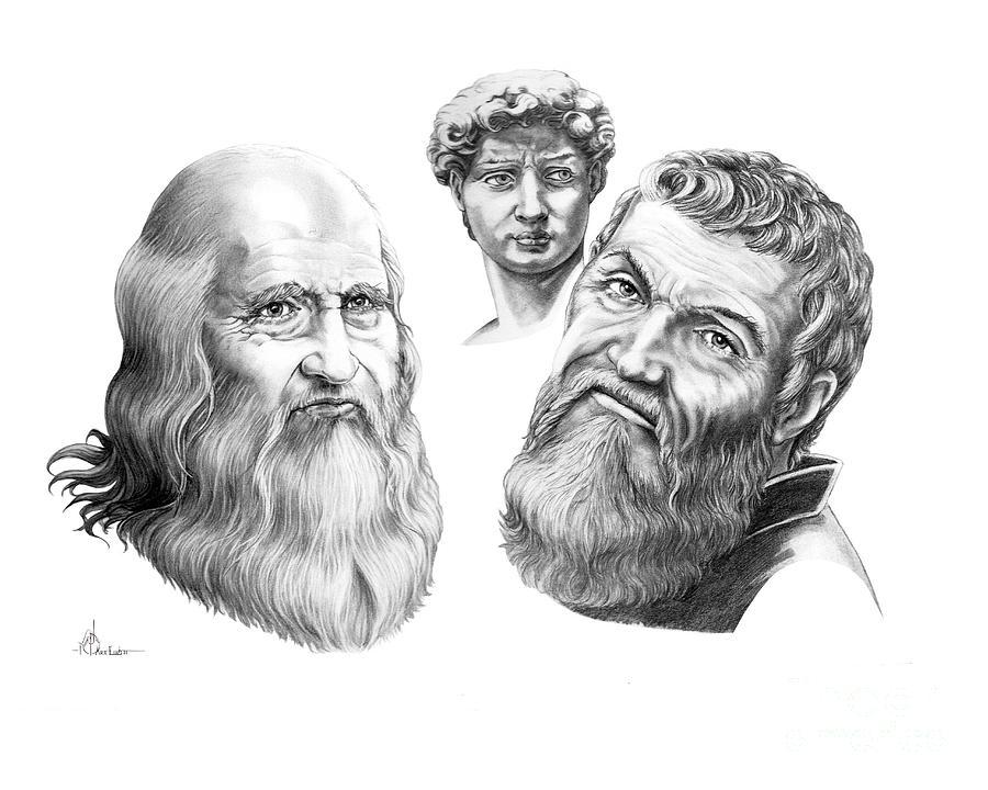 Drawing Drawing - Leonardo And Michelangelo by Murphy Elliott