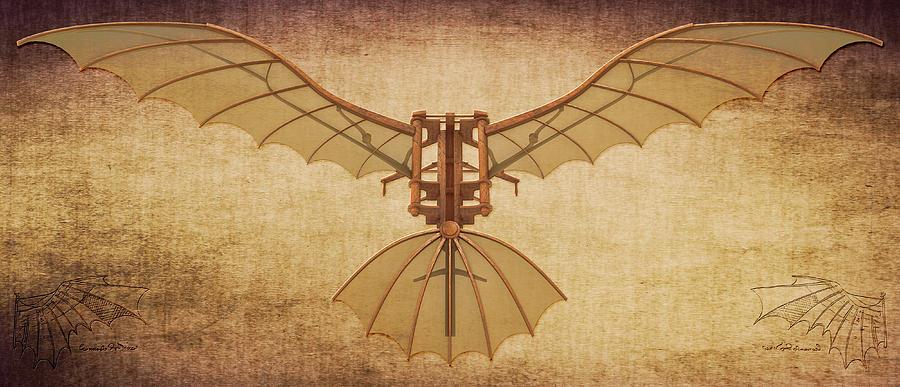 Leonardo Da Vinci Flying Machine Under Parchment - Art ... |Leonardo Da Vinci Flying Machine