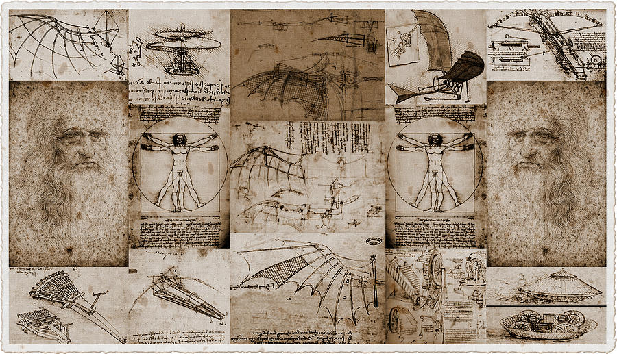 Case Design picture collage phone case : Leonardo Da Vinci Invention Sketches Photography Poster Photograph by ...