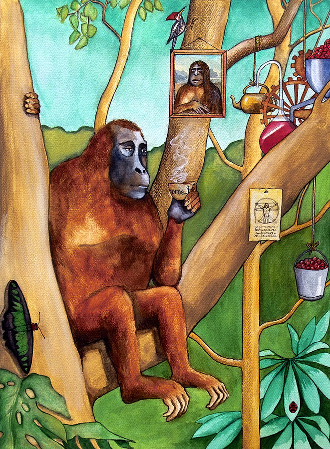 Leonardo Painting - Leonardo The Orangutan by Robert Lacy