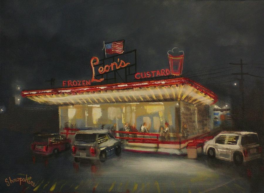 City At Night Painting - Leons Frozen Custard by Tom Shropshire