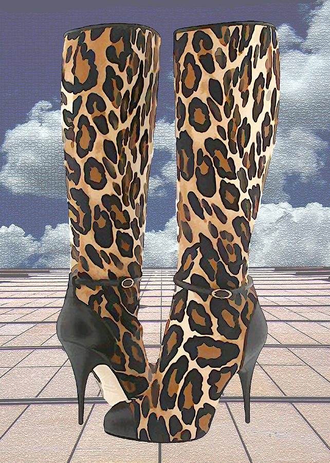 Shoes Heels Pumps Fashion Designer Feet Foot Shoe Stilettos Painting Paintings Illustration Illustrations Sketch Sketches Drawing Drawings Pump Stiletto Fetish Designer Fashion Boot Boots Footwear Sandal Sandals High+heels High+heel Women's+shoes Graphic Sophisticated Elegant Modern Painting - Leopard Boots With Ankle Straps by Elaine Plesser