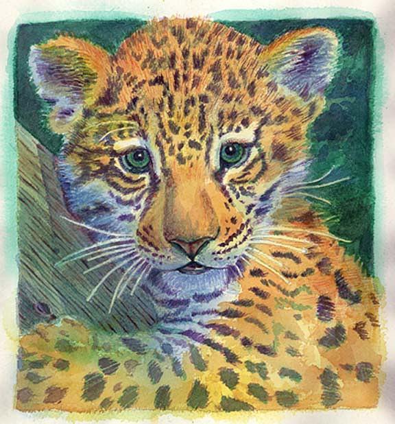 Leopard Cub Painting - Leopard Cub by Carmen Durden