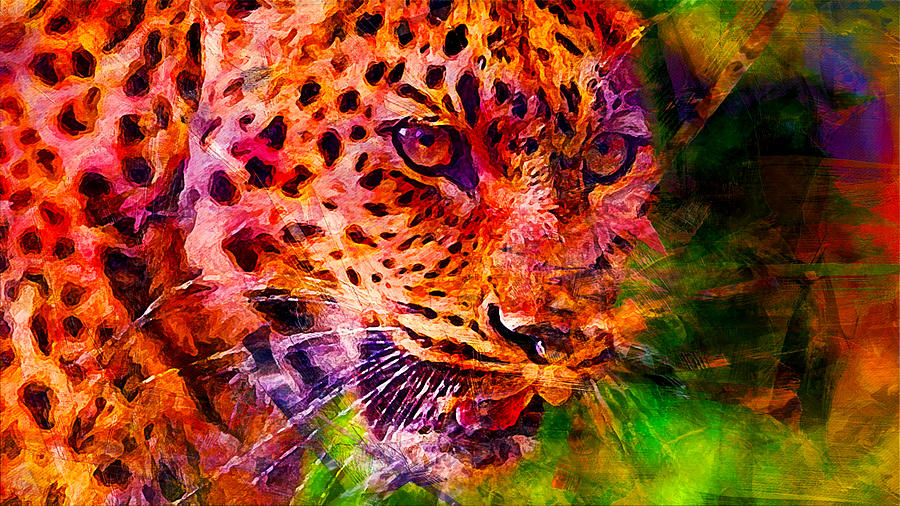 Leopard Digital Art - Leopard by Elena Kosvincheva