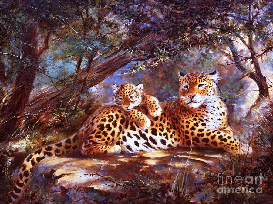 Leopard Love Painting by Silvia  Duran