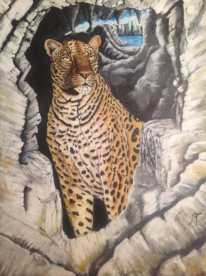 Cat Painting - Leopard On The Rocks by Marilyn Comparetto