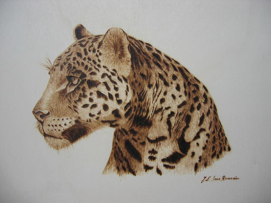 Leopard Pyrography - Leopardo by Jose Luis  San Roman