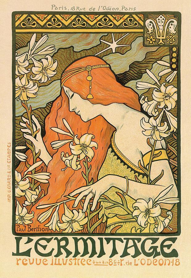 L\u0027ermitage , Alphonse Mucha , Art Nouveau Poster