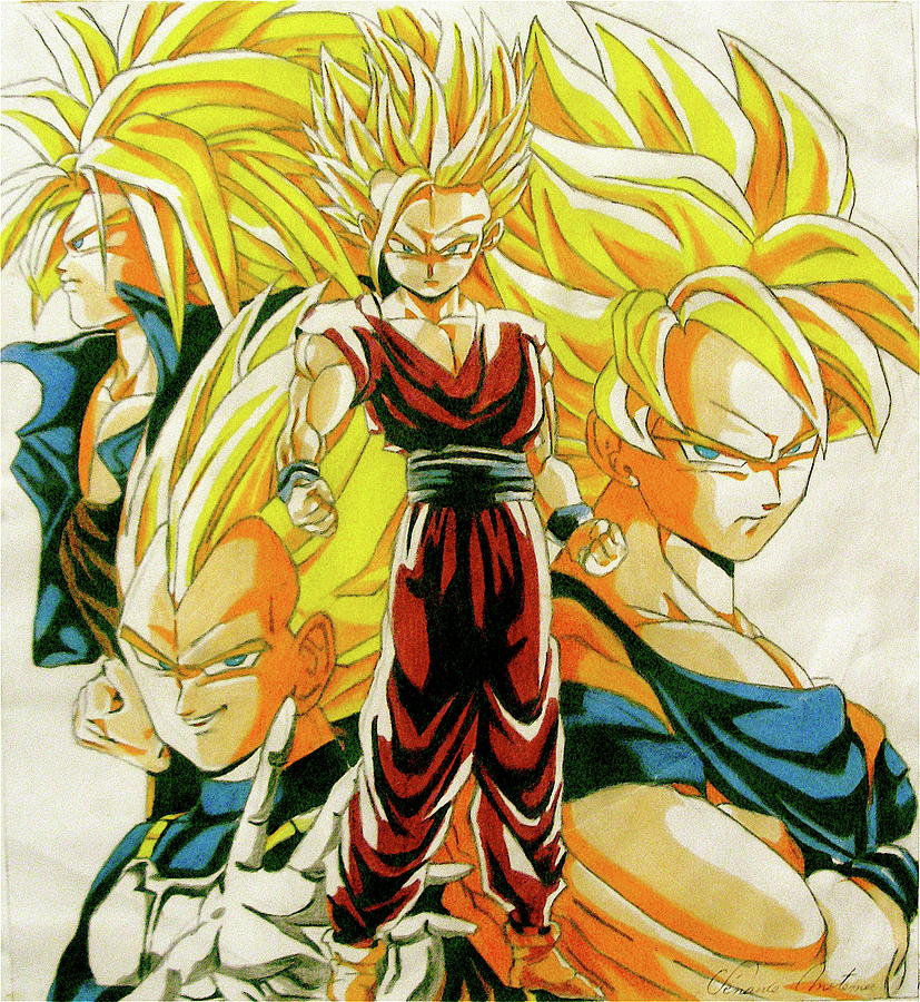 Les 4 Super Guerriers Drawing by Venance Motema