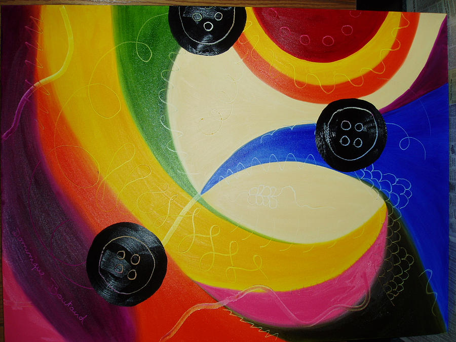 Abstract Painting - Les Boutons Noirs 2 by Dominique Boutaud