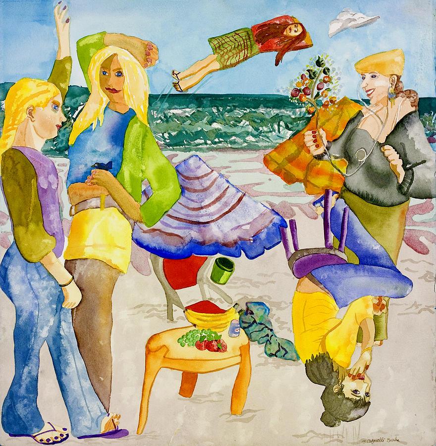 Girls Painting - Les Demoiselles Of Santa Cruz V4 by Susan Cafarelli Burke