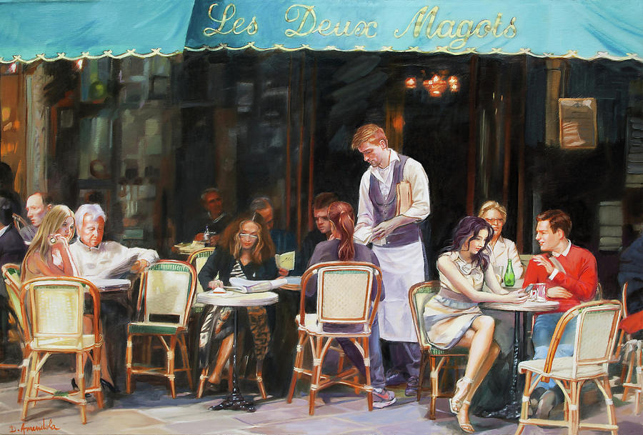 Les Deux Magots Painting - Les Deux Magots - Cafe Scene In Paris by Dominique Amendola