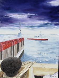 Bateau Painting - Les Escoumins En Hiver by Jean-Pierre Loiselle