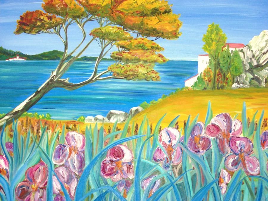 Seascape Painting - Les Iris France by Hannelore Amon