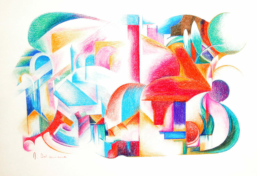 Abstract Drawing - Les Temps modernes by Muriel Dolemieux