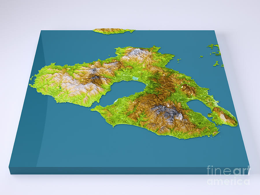 Lesbos Island 3d Model Topographic Map Color Frontal Digital Art by