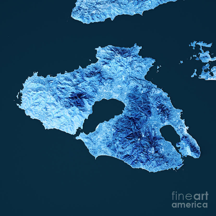 Lesbos Island Topographic Map Blue Color Top View Digital Art by