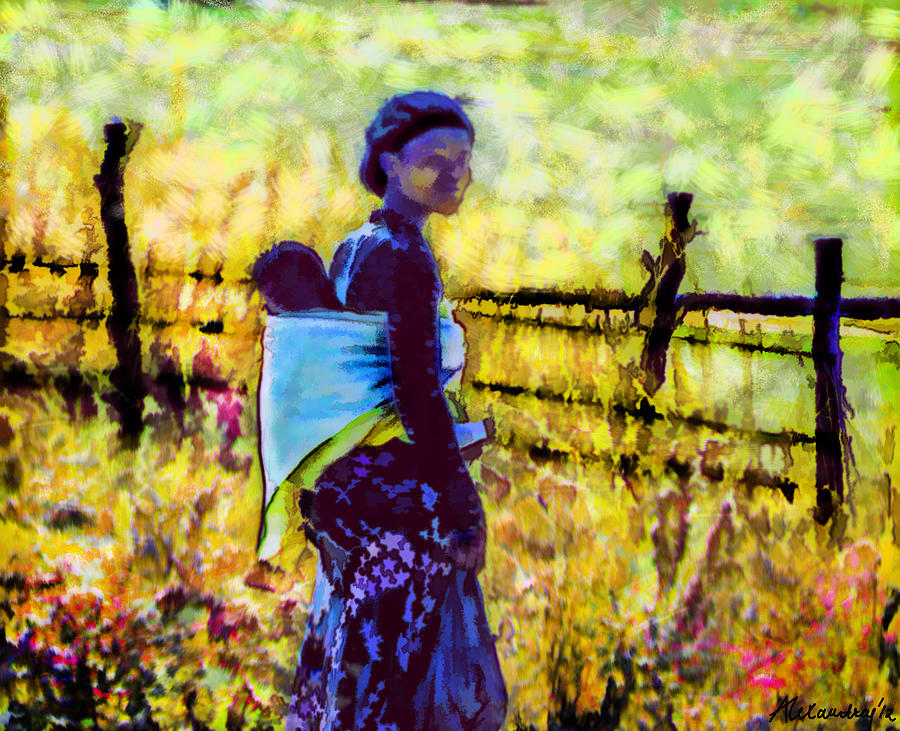 Abstract Digital Art - Lesotho Woman by Alexandra Jordankova