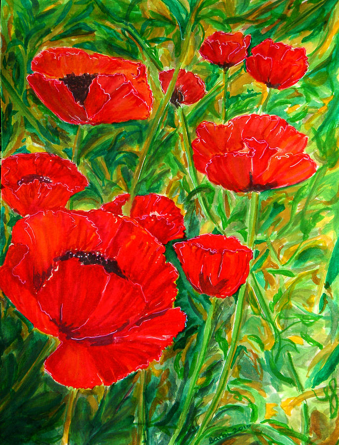 Poppies Painting - Lest We Forget by Barbi  Holzmann