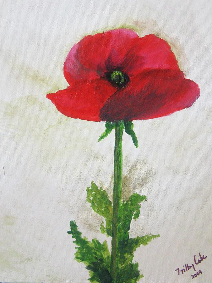 Poppy Painting - Lest We Forget by Trilby Cole
