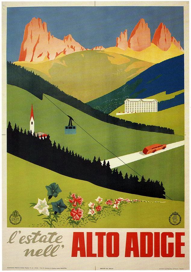 Lestate Nell Alto Adige, Italy - Retro Travel Poster - Vintage Poster Mixed Media