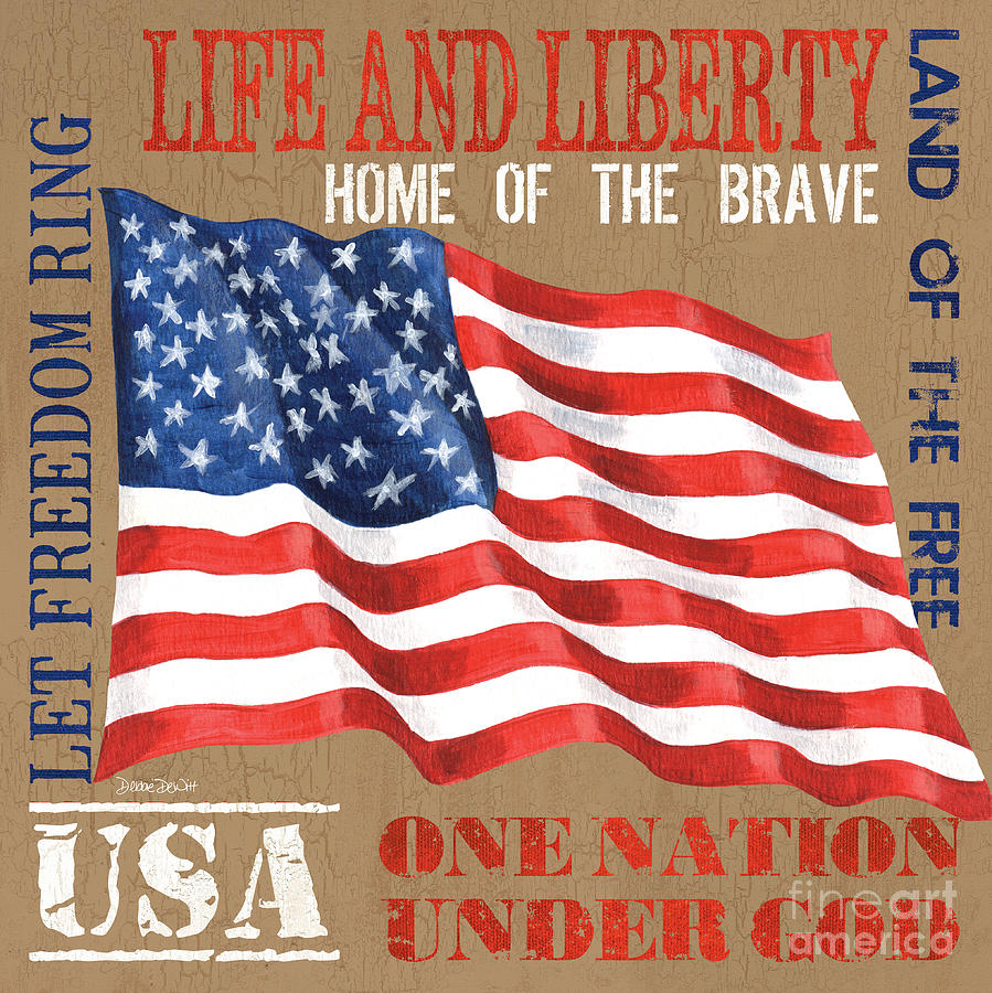 Flag Painting - Let Freedom Ring by Debbie DeWitt