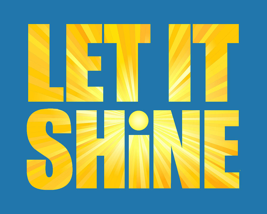 Let It Shine Sun - Blue Background Digital Art