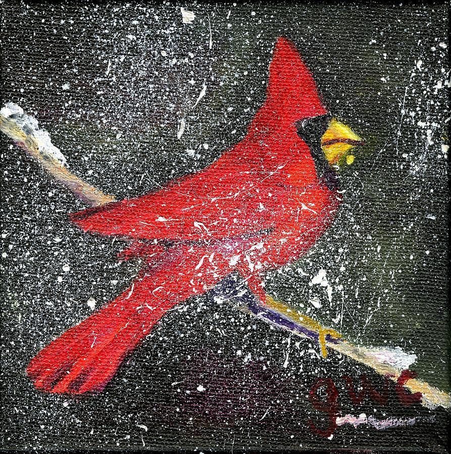 Bird Painting - Let It Snow by Gloria Condon