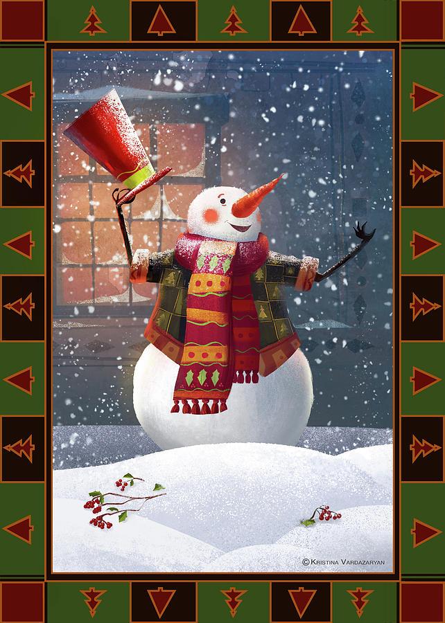 Snowman Painting - Let It Snow by Kristina Vardazaryan