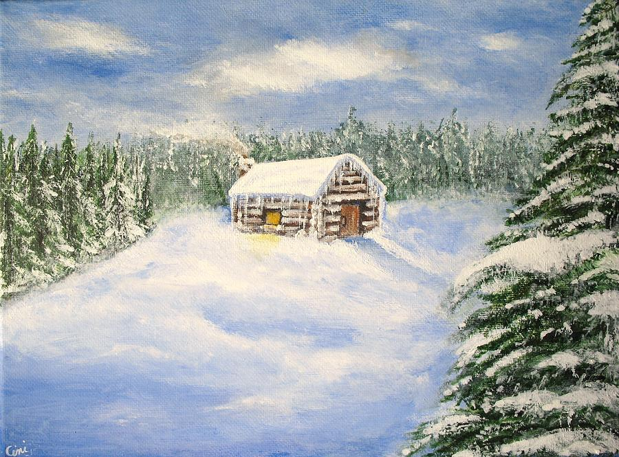 Log Cabin Painting - Let It Snow by Lisa Cini