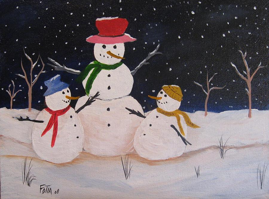 Snowman Painting - Let It Snow by Rich Fotia