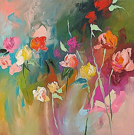 Abstract Painting - Let by Linda Monfort