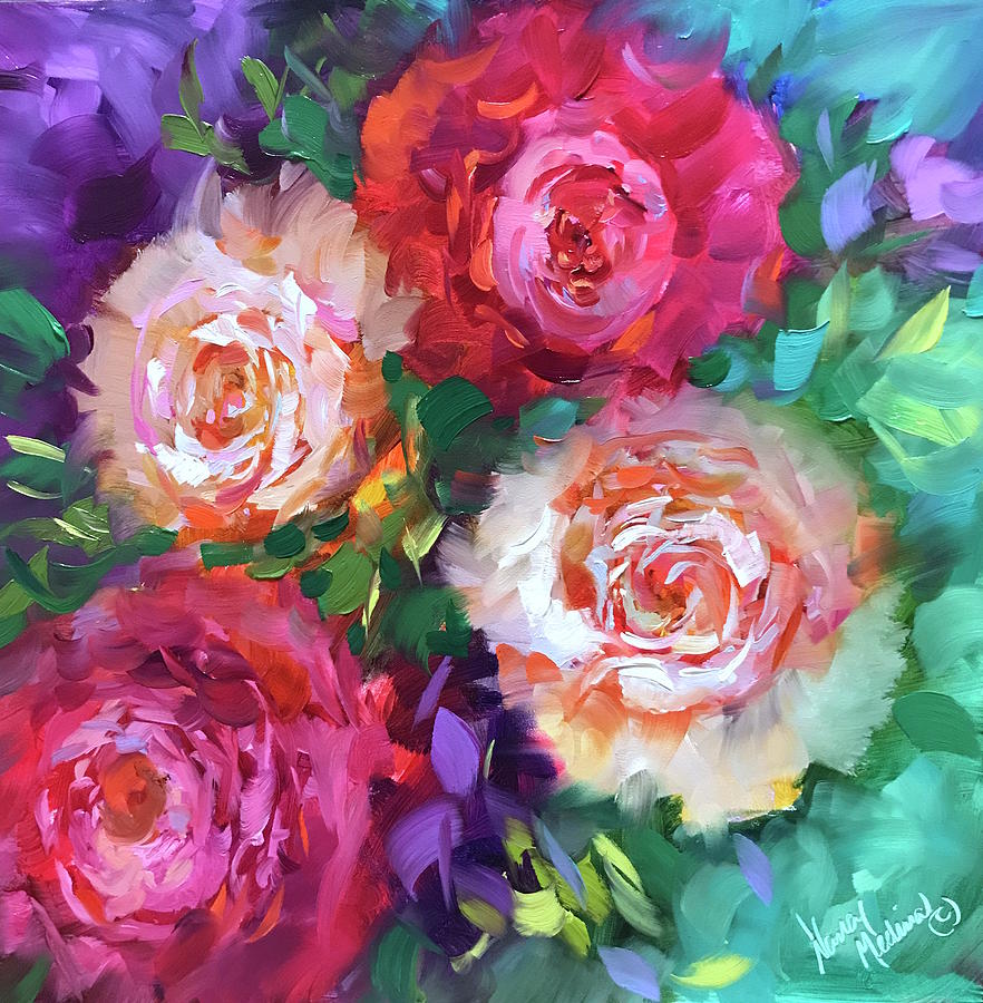 Peonies Painting   Let The Joy In Roses And Peonies By Nancy Medina