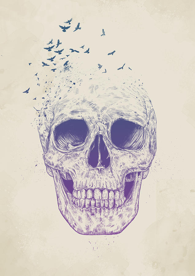 Skull Mixed Media - Let them fly by Balazs Solti