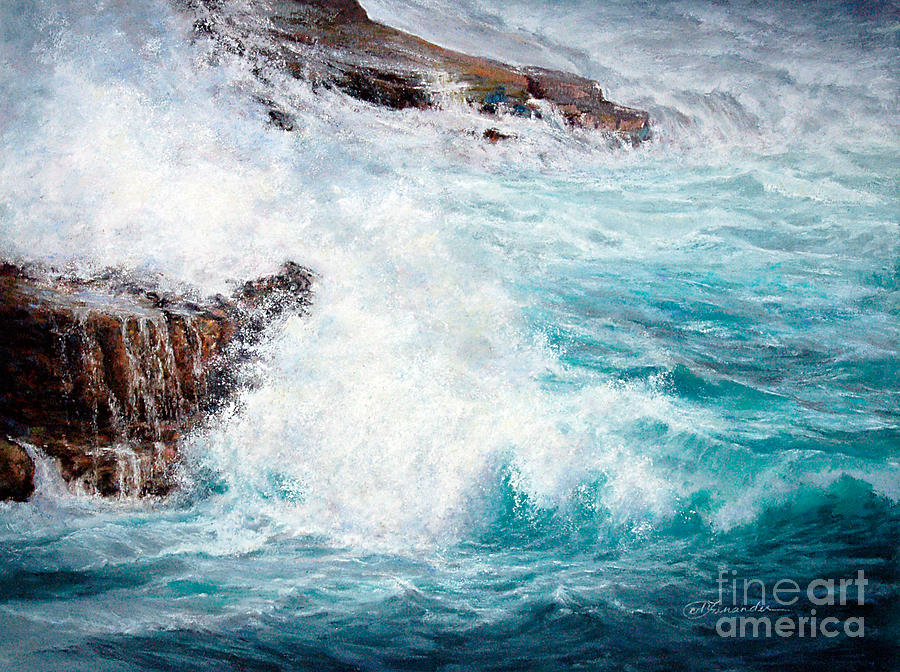 Wave Painting - Let There Be Waves by Candace D Fenander