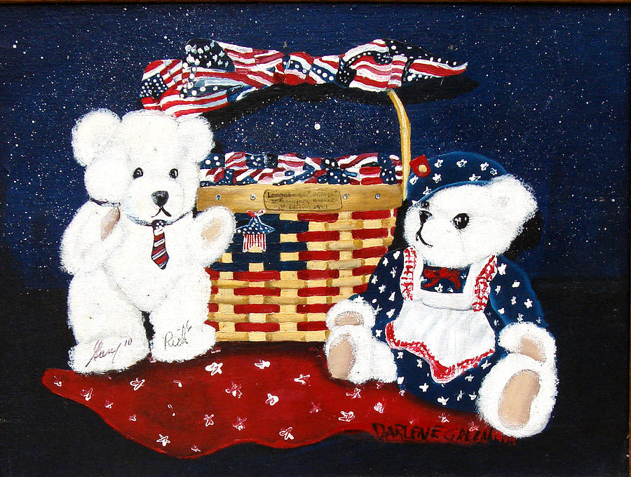 Teddy Bears Painting - Let Us Celebrate by Darlene Green