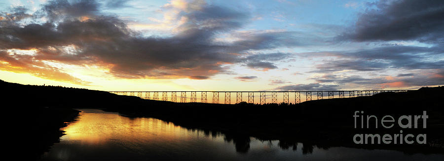 Lethbridge Photograph - Lethbridge Bridge Sunset Panorama by Vivian Christopher