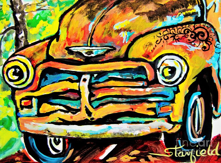 Antique Cars Painting - Lets Face It  Im RUSTY by Johnnie Stanfield