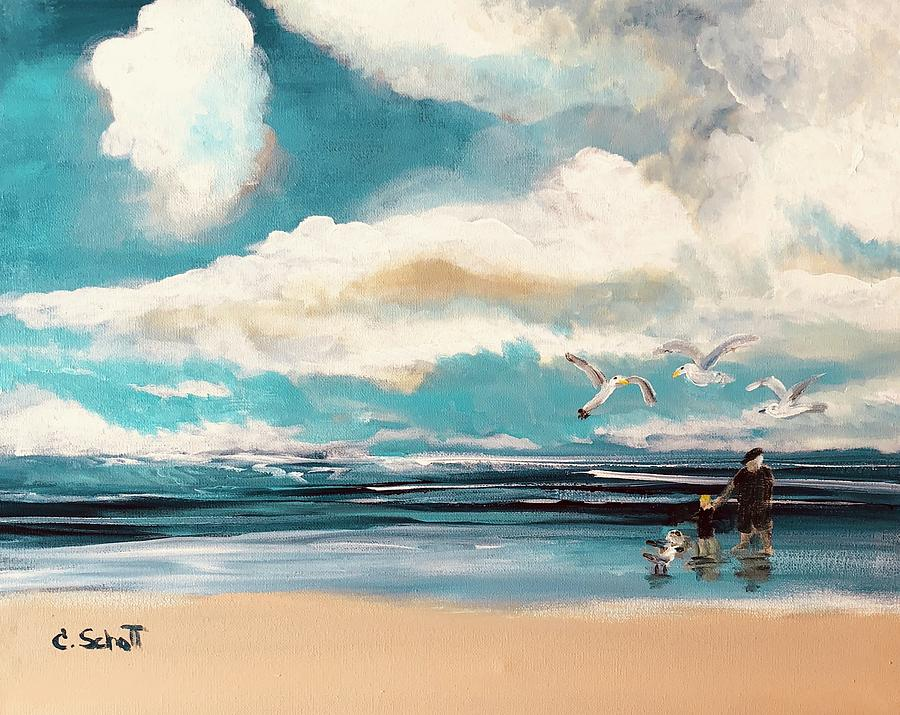 Seascape Painting - Lets Feed The Seagulls by Christina Schott